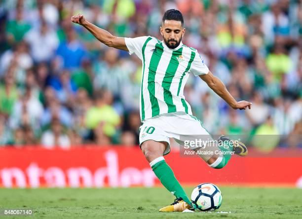 Ryad Boudebouz of Real Betis Balompie in action during the La Liga match between Real Betis and Deportivo La Coruna at Estadio Benito Villamarin on...