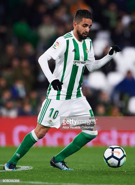 Ryad Boudebouz of Real Betis Balompie in action during the La Liga match between Real Betis and Real Sociedad at Estadio Benito Villamarin on March 1...