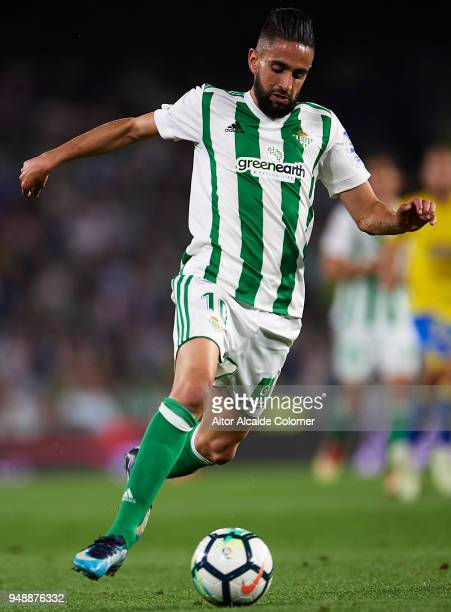 Ryad Boudebouz of Real Betis Balompie in action during the La Liga match between Real Betis and Las Palmas at Estadio Benito Villamarin on April 19...