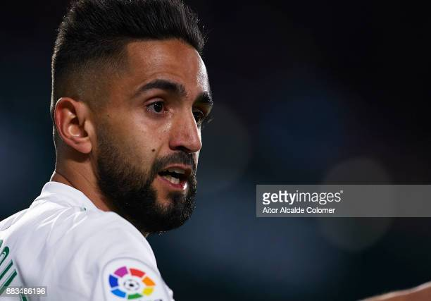 Ryad Boudebouz of Real Betis Balompie looks on during the Copa del Rey Round of 32 Second Leg match between Real Betis Balompie and Cadiz CF at...