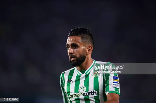 Ryad Boudebouz of Real Betis Balompie looks on during the La Liga match between Real Betis Balompie and Levante UD at Estadio Benito Villamarin on...