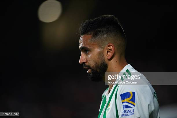 Ryad Boudebouz of Real Betis Balompie looks on during the La Liga match between Real Betis and Girona at Estadio Benito Villamarin on November 25...