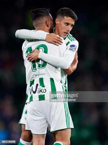 Ryad Boudebouz of Real Betis celebrates after scoring goal during the Copa del Rey Round of 32 Second Leg match between Real Betis Balompie and Cadiz...