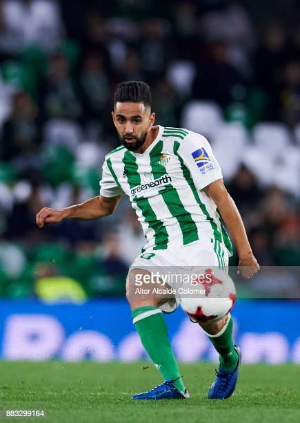 Ryad Boudebouz of Real Betis controls the ball during the Copa del Rey Round of 32 Second Leg match between Real Betis Balompie and Cadiz CF at...