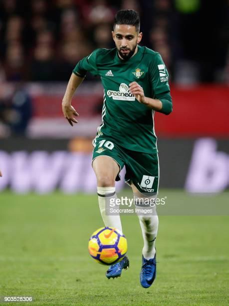 Ryad Boudebouz of Real Betis during the La Liga Santander match between Sevilla v Real Betis Sevilla at the Estadio Ramon Sanchez Pizjuan on January...