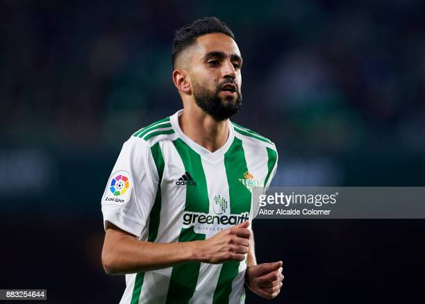 Ryad Boudebouz of Real Betis reacts during the Copa del Rey Round of 32 Second Leg match between Real Betis Balompie and Cadiz CF at Estadio Benito...