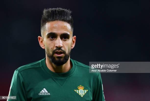 Ryad Boudebouz of Real Betis reacts during the La Liga match between Sevilla FC and Real Betis Balompie at Estadio Ramon Sanchez Pizjuan on January 6...
