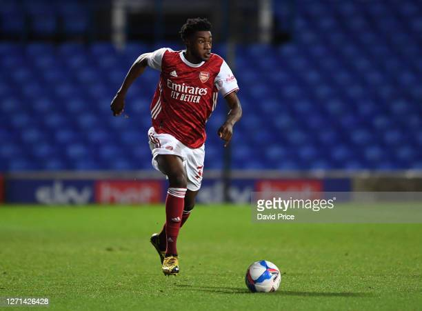 Ryan Alebiosu of Arsenal during the Leasingcom Cup match between Ipswich Town and Arsenal U21 at Portman Road on September 08 2020 in Ipswich England