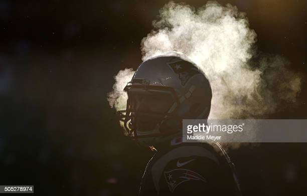 Ryan Allen of the New England Patriots warms up prior to the AFC Divisional Playoff Game against the Kansas City Chiefs at Gillette Stadium on...