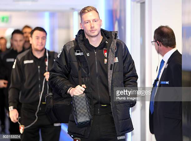 Ryan Allsop of Bournemouth arrives at King Power Stadium ahead of the Barclays Premier League match between Leicester City and Bournemouth at the...