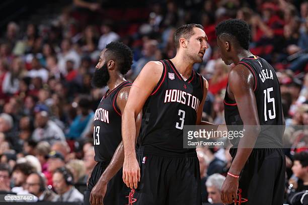Ryan Anderson and Clint Capela of the Houston Rockets talk during the game against the Portland Trail Blazers on November 27 2016 at the Moda Center...
