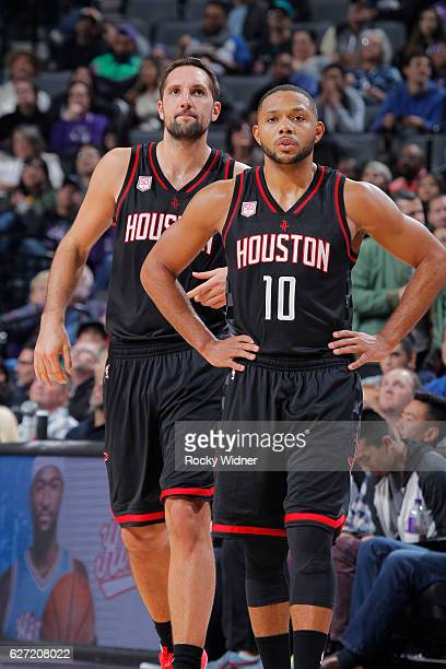 Ryan Anderson and Eric Gordon of the Houston Rockets look on during the game against the Sacramento Kings on November 25 2016 at Golden 1 Center in...