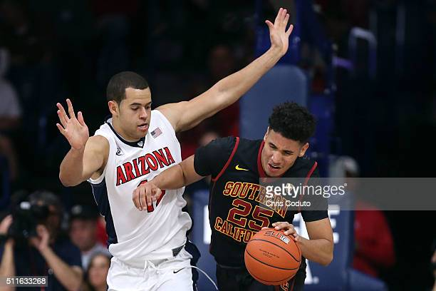 Ryan Anderson of the Arizona Wildcats defends Bennie Boatwright of the USC Trojans during the second half of the college basketball game at McKale...
