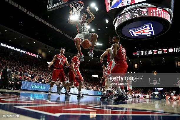 Ryan Anderson of the Arizona Wildcats dunks the ball during the first half of the college basketball game against the Bradley Braves at McKale Center...