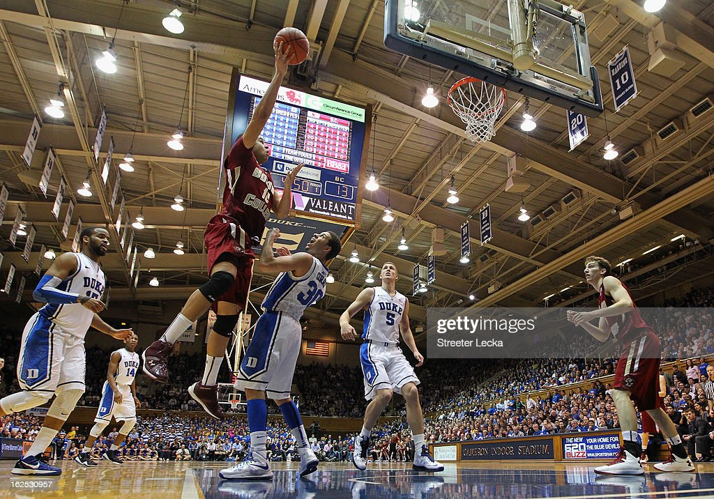 Ryan Anderson #12 of the Boston College Eagles drives to the basket against Seth Curry #30 of the Duke Blue Devils during their game at Cameron Indoor Stadium on February 24, 2013 in Durham, North Carolina.
