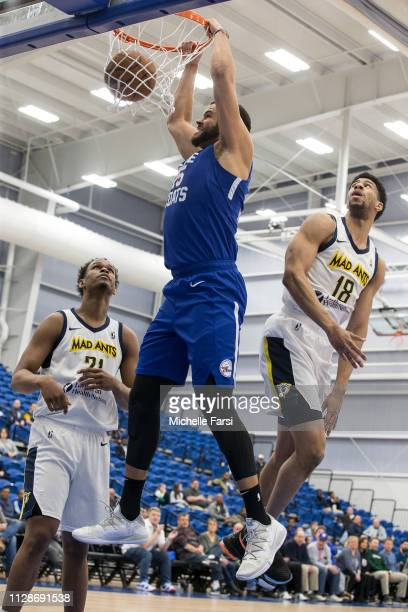 Ryan Anderson of the Delaware Blue Coats dunks against the Fort Wayne Mad Ants during an NBA GLeague game on March 4 2019 at 76ers Fieldhouse in...
