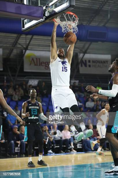 Ryan Anderson of the Delaware Blue Coats dunks the basket against Joe Chealey of the Greensboro Swarm in Greensboro, North Carolina. NOTE TO USER:...