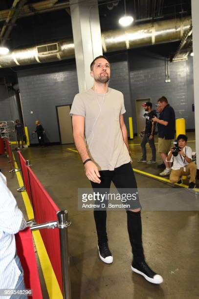 Ryan Anderson of the Houston Rockets arrives before Game Two of the Western Conference Finals against the Golden State Warriors during the 2018 NBA...