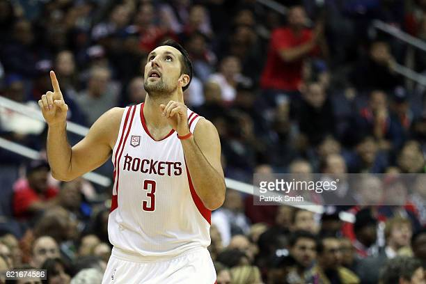 Ryan Anderson of the Houston Rockets celebrates a threepointer against the Washington Wizards during the second half at Verizon Center on November 7...