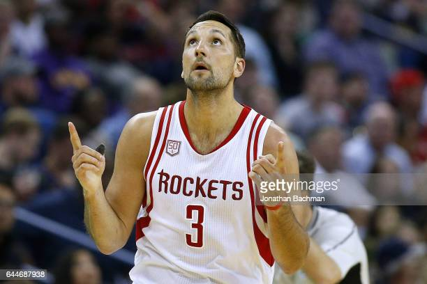 Ryan Anderson of the Houston Rockets celebrates after scoring during the first half of a game against the New Orleans Pelicans at the Smoothie King...