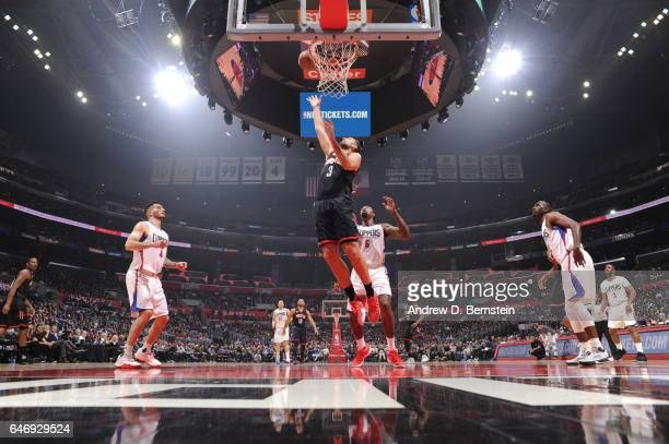 Ryan Anderson of the Houston Rockets goes to the basket against the Los Angeles Clippers on March 1 2017 at STAPLES Center in Los Angeles California...