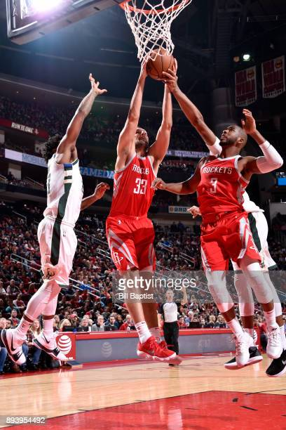 Ryan Anderson of the Houston Rockets handles the ball against the Milwaukee Bucks on December 16 2017 at the Toyota Center in Houston Texas NOTE TO...