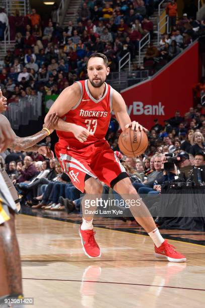 Ryan Anderson of the Houston Rockets handles the ball against the Cleveland Cavaliers on February 3 2018 at Quicken Loans Arena in Cleveland Ohio...