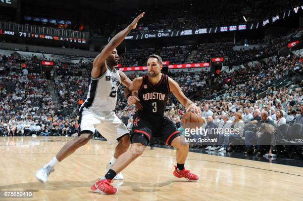 Ryan Anderson of the Houston Rockets handles the ball against the San Antonio Spurs during Game One of the Western Conference Semifinals of the 2017...