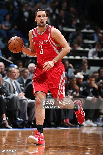 Ryan Anderson of the Houston Rockets handles the ball during a game against the Minnesota Timberwolves on January 11 2017 at the Target Center in...