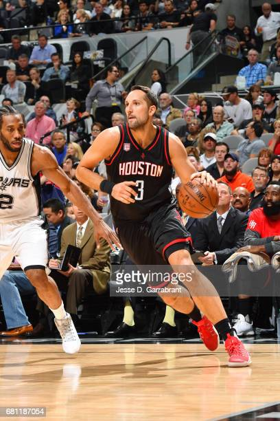 Ryan Anderson of the Houston Rockets handles the ball during the game against the San Antonio Spurs during Game Five of the Western Conference...