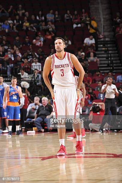 Ryan Anderson of the Houston Rockets looks on against the Shanghai Sharks during a preseason game on October 2 2016 at the Toyota Center in Houston...