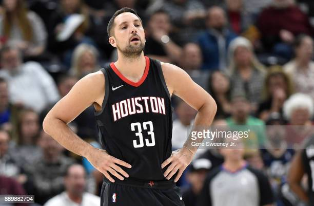 Ryan Anderson of the Houston Rockets looks on against the Utah Jazz during their game at Vivint Smart Home Arena on December 7 2017 in Salt Lake City...