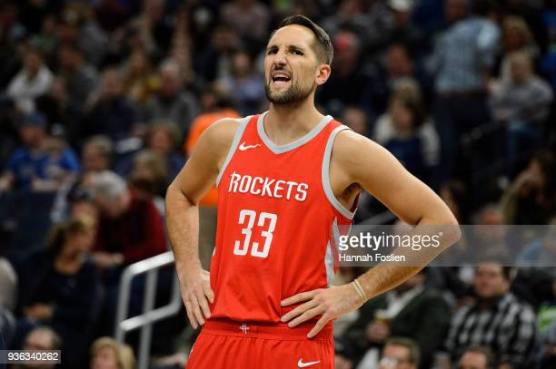 Ryan Anderson of the Houston Rockets looks on during the game against the Minnesota Timberwolves on March 18 2018 at the Target Center in Minneapolis...
