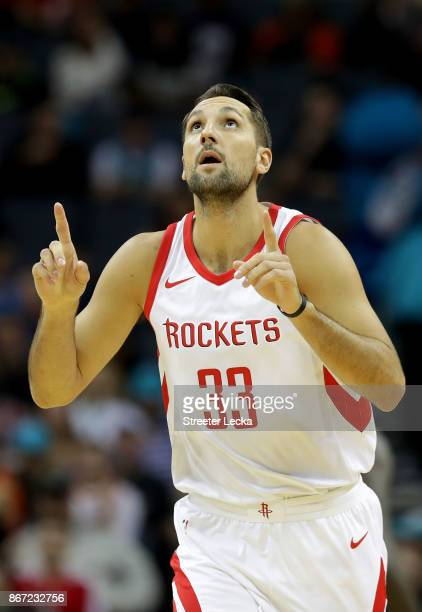Ryan Anderson of the Houston Rockets reacts after a play against the Charlotte Hornets during their game at Spectrum Center on October 27 2017 in...