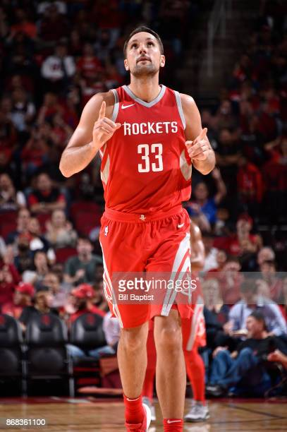 Ryan Anderson of the Houston Rockets reacts during the game against the Philadelphia 76ers on October 30 2017 at the Toyota Center in Houston Texas...