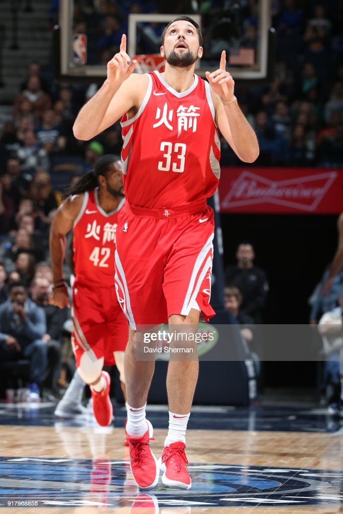 Ryan Anderson #33 of the Houston Rockets reacts during the game against the Minnesota Timberwolves on February 13, 2018 at Target Center in Minneapolis, Minnesota.