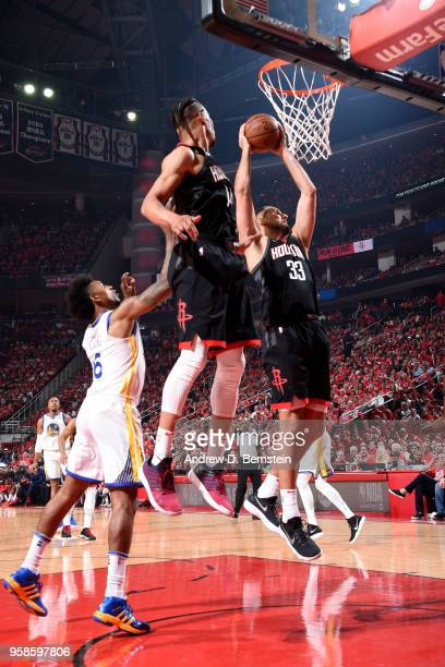 Ryan Anderson of the Houston Rockets rebounds the ball against the Golden State Warriors during Game One of the Western Conference Finals of the 2018...