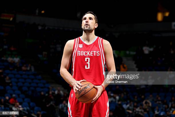Ryan Anderson of the Houston Rockets shoots a free throw against the Minnesota Timberwolves on December 17 2016 at Target Center in Minneapolis...