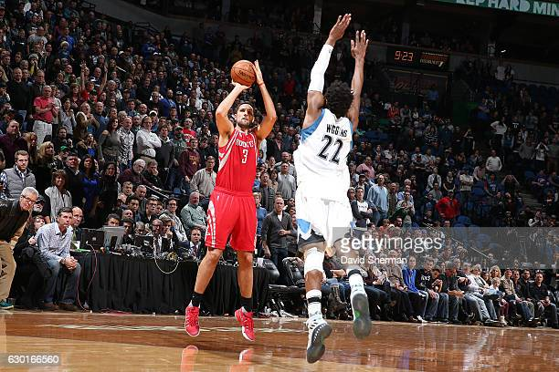 Ryan Anderson of the Houston Rockets shoots the ball against the Minnesota Timberwolves on December 17 2016 at Target Center in Minneapolis Minnesota...