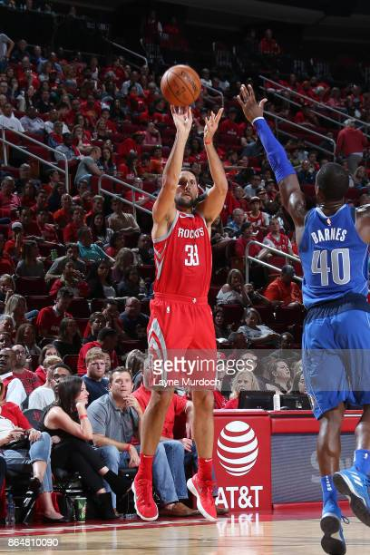 Ryan Anderson of the Houston Rockets shoots the ball against the Dallas Mavericks on October 21 2017 at the Toyota Center in Houston Texas NOTE TO...