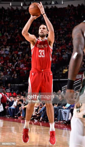 Ryan Anderson of the Houston Rockets shoots the ball against the Milwaukee Bucks on December 16 2017 at the Toyota Center in Houston Texas NOTE TO...