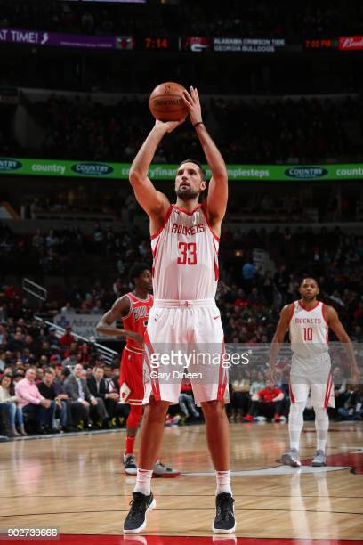 Ryan Anderson of the Houston Rockets shoots the ball against the Chicago Bulls on January 8 2018 at the United Center in Chicago Illinois NOTE TO...
