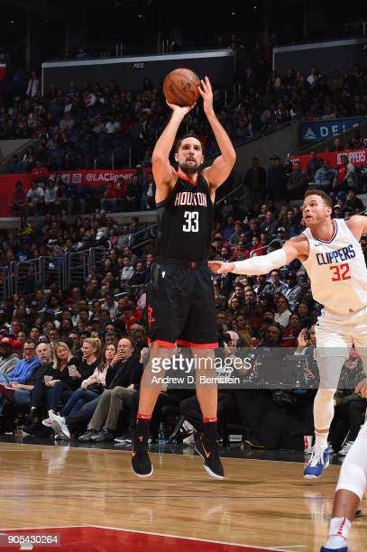 Ryan Anderson of the Houston Rockets shoots the ball against the LA Clippers on January 15 2018 at STAPLES Center in Los Angeles California NOTE TO...