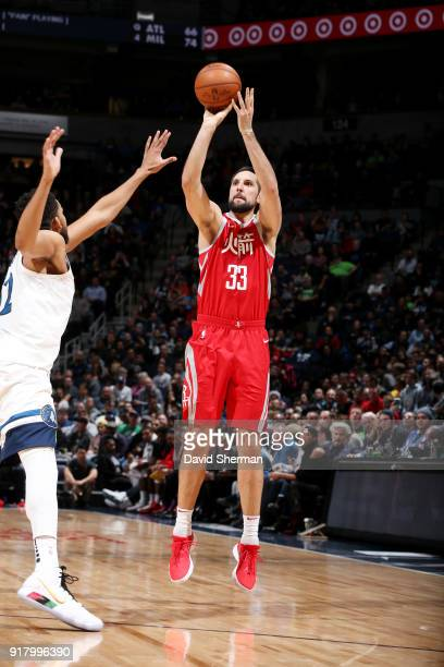 Ryan Anderson of the Houston Rockets shoots the ball against the Minnesota Timberwolves on February 13 2018 at Target Center in Minneapolis Minnesota...