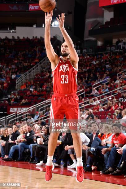 Ryan Anderson of the Houston Rockets shoots the ball against the Sacramento Kings on February 14 2018 at the Toyota Center in Houston Texas NOTE TO...