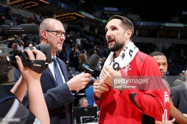 Ryan Anderson of the Houston Rockets talks with media after the game against the Houston Rockets on February 13 2018 at Target Center in Minneapolis...