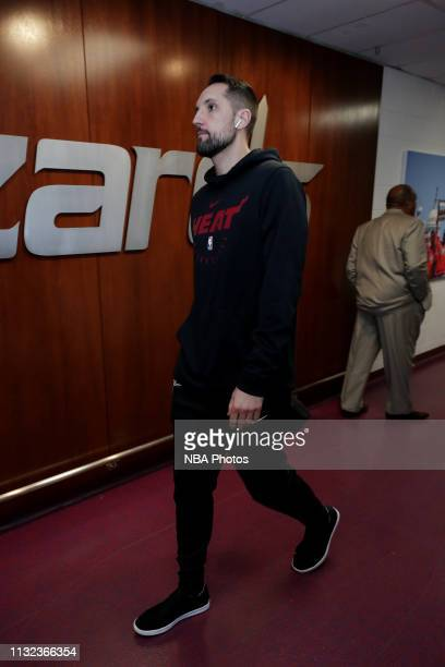 Ryan Anderson of the Miami Heat arrives to the arena prior to the game against the Washington Wizards on March 23 2019 at Capital One Arena in...