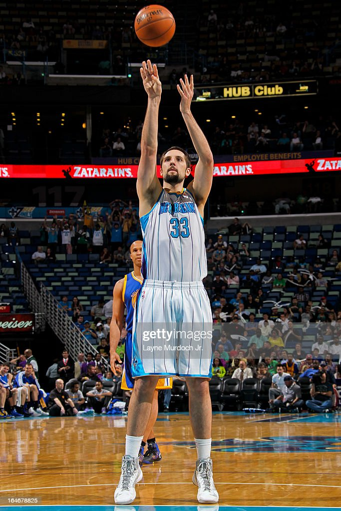 Ryan Anderson #33 of the New Orleans Hornets shoots a free-throw against the Golden State Warriors on March 18, 2013 at the New Orleans Arena in New Orleans, Louisiana.