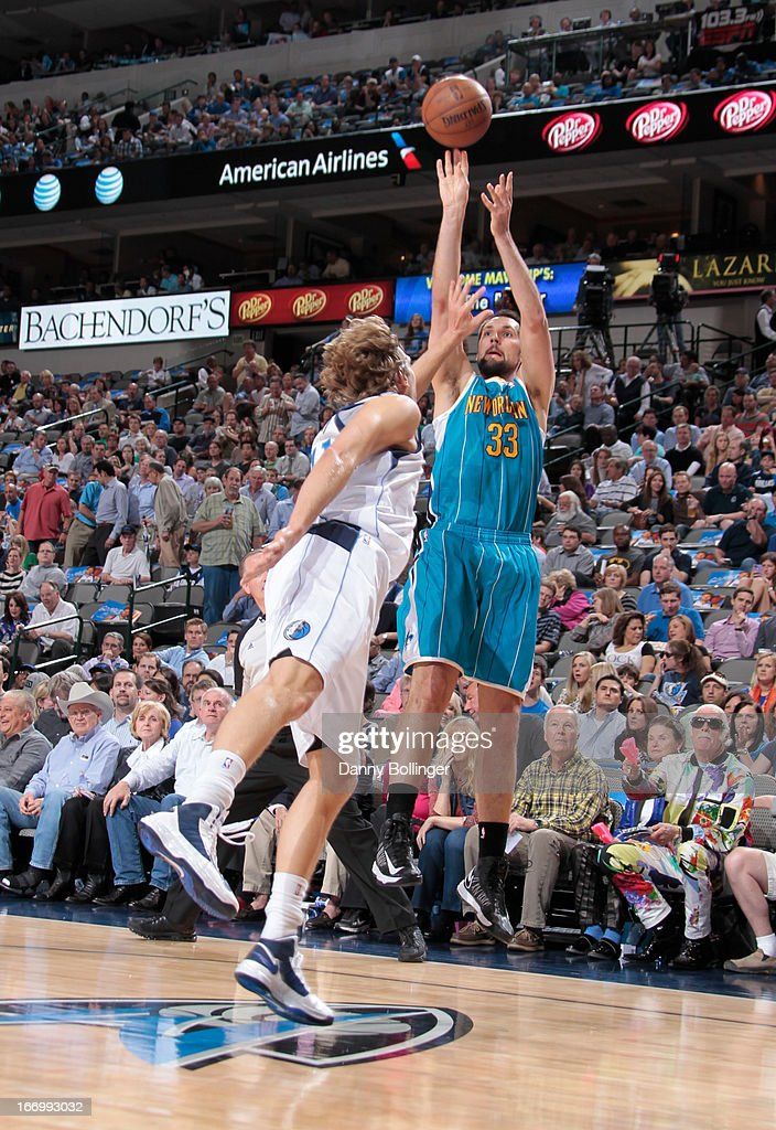 Ryan Anderson #33 of the New Orleans Hornets shoots the ball against the Dallas Mavericks on April 17, 2013 at the American Airlines Center in Dallas, Texas.
