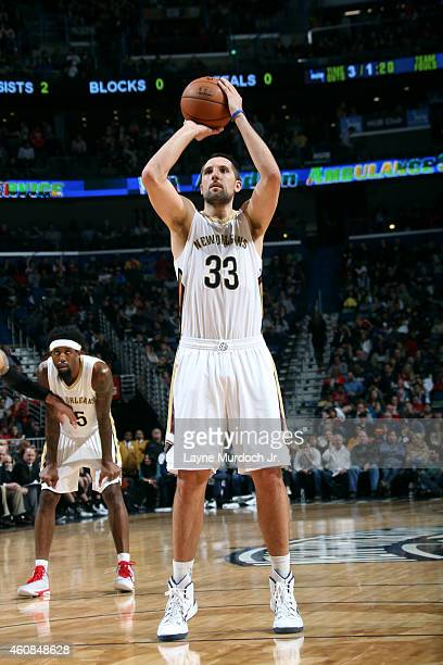 Ryan Anderson of the New Orleans Pelicans attempts a free throw against the San Antonio Spurs on December 26 2014 at Smoothie King Center in New...